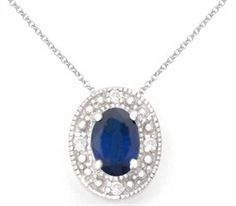 """Diamond and Sapphire Necklaces - 14K White Gold Diamond & Precious Blue Sapphire Necklace 16 """""""