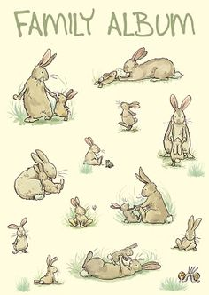 Rabbit Family Album CARD: Gifts and cards for rabbit owners and bunny lovers by Anita Jeram Rabbit Drawing, Rabbit Art, Animal Drawings, Cute Drawings, Lapin Art, Anita Jeram, Photo Images, Bunny Art, Family Album