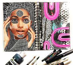 alisaburke: a peek inside my art journal: altered magazine pag. Art Journal Pages, Art Journals, Alisa Burke, Altered Book Art, Magazine Art, Alters, Medium Art, Art Techniques, Mixed Media Art