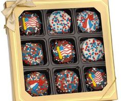 Patriotic Chocolate Dipped Oreos® - Box of 9 - These delicious Oreo® cookies are wrapped in your choice of decadently delicious fine Belgian chocolates (Dark, Milk or White) and decorated with handcrafted Royal Icing patriotic decorations and/or Red, White and Blue star confetti.