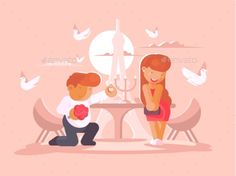Young guy proposes to marry girlfriend kneeling. Vector flat illustration. Vector files, fully editable. Includes AI CS5, EPS 10