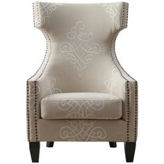 TOV Furniture Gramercy Embroidered Linen Cream Wing Chair TOV-A36