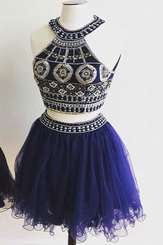 Two Pieces Prom Dresses #TwoPiecesPromDresses, Cute Prom Dresses #CutePromDresses, Prom Dresses Short #PromDressesShort, Prom Dresses Blue #PromDressesBlue