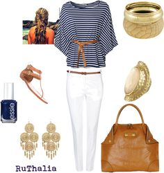 Navy, White, Gold, created by rhth712 on Polyvore
