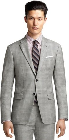 $1,198, Milano Fit Black And White Plaid With Blue Deco 1818 Suit by Brooks Brothers. Sold by Brooks Brothers. Click for more info: http://lookastic.com/men/shop_items/31124/redirect