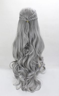 """29"""" Long Curly Wig Silver Gray Queen Cosplay Hairpiece For Women"""