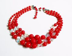 Vintage Red Bead Necklace Triple Strand Aurora Borealis Faceted Antique 16 In in Jewelry & Watches, Vintage & Antique Jewelry, Costume | eBay