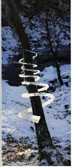 Andy Goldsworthy's ice sculpture captures the light.