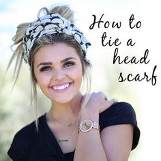 How to tie a head scarf Do you guys have scarves that are just sitting in your closet waiting to be worn again? Have no fear but we are here to show you how to wear them in the summer time! One of our favorite ways is a … How To Wear Headbands, Headbands For Short Hair, How To Wear Scarves, Braided Headbands, Hair Scarf Styles, Curly Hair Styles, Headband Styles, Head Scarf Tying, Head Wrap Scarf
