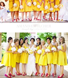 yellow and pink bridesmaids.  love it. my 2 favorite colors <3