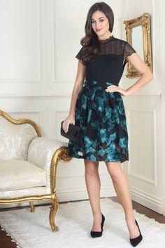 Alix Black and Green Net Mesh Floral Embellished A-Line Skirt