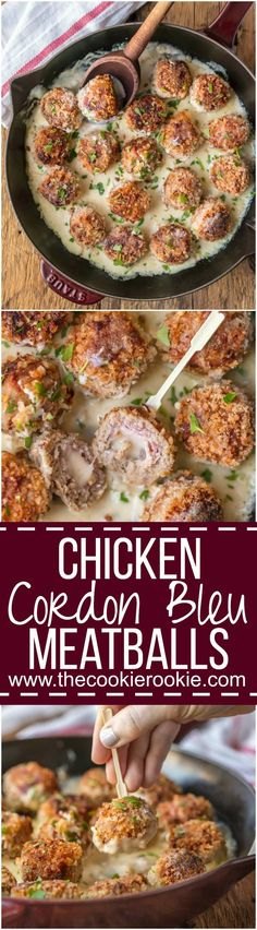 CHICKEN CORDON BLEU MEATBALLS, the most amazing holiday appetizer ever! Chicken meatballs stuffed with swiss and ham and cooked in a white wine dijon sauce. I could eat these for every meal! via @beckygallhardin