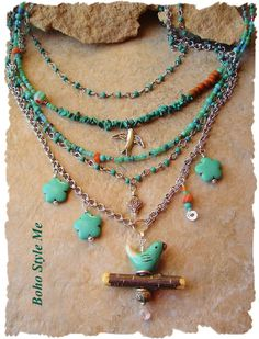 This is a one of a kind, bird lover necklace, inspired by my own love of our feathered friends. The focal, is a blue ceramic bird pendant, perched on an embellished fruitwood stick. Above the pendant, turquoise howlite flowers dangle alongside a colorful beaded charm. This necklace is created with antique silver chains, findings, beads and charms. Included in this unique necklace, are small genuine turquoise nuggets, trade beads, cheveron beads, Czech glass beads, silver bird charm, delicate…