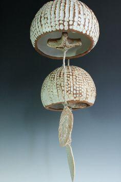 Sea Urchin bell. Ceramic white ocean garden by naturallyinspired