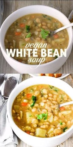 Amazing Vegan White Bean Soup recipe that is hearty, comfy and full of flavor. I… Amazing Vegan White Bean Soup recipe that is hearty, comfy and full of flavor. It is vegan, gluten-free and oil-free and perfect for those long winter months. Easy Vegan Soup, Vegan Soups, Healthy Soup, Vegetarian Recipes, Healthy Recipes, Vegan Vegetarian, Sick Recipes, Vegan Bean Soup, Fruit Recipes