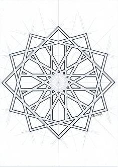 Islamic geometric pattern – My Tattoo Geometric Patterns, Geometric Mandala, Tile Patterns, Geometric Designs, Pattern Art, Islamic Designs, Zentangle Patterns, Motifs Islamiques, Islamic Motifs