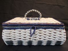 Vintage Blue White Wicker Fabric Sewing Box Basket Japan with Handle