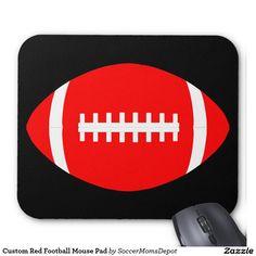 #Custom #Red #Football #Mouse #Pad