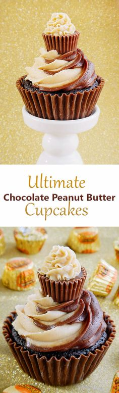 "The best chocolate peanut butter cupcakes. Chocolate cupcakes with peanut butter filling, chocolate and peanut butter swirl frosting, mini ""cupcake"" toppers and edible cupcake wrappers. A peanut butter lover's dream! #UltimateCupcake"