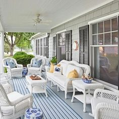 Outdoor Wicker Furniture on the Porch Overlooking a Marsh. Photo by: Bountiful. #BeachfrontDecor - - - - http://beachfrontdecor.com/product-category/furniture/ 🌊