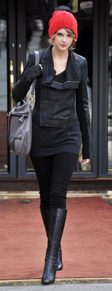 Who made Taylor Swift's red hat, black boots and black leather jacket that she wore in Paris?