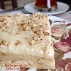 KEYİFLİ SOFRAM: BULGARİSTAN TORTASI TARİFİ Easy Cake Recipes, Dessert Recipes, Tasty, Yummy Food, Arabic Food, Turkish Recipes, Cookie Desserts, Food Design, Food And Drink