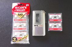 Sony Microcassette Voice Recorder M-570V with 5 Sony Cassettes and Batteries