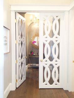 Beautiful Doors - white French doors with circular trellis design via Klury