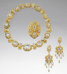 Aquamarine Necklace, Ear Pendents And Pendant Parure - French  c.1840