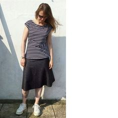day 13 - a windswept Walkley vest in striped viscose jersey and the plain a-line version of the Tapton skirt in a gorgeous heavy denim effect jersey. Jersey Skirt, Skirt Patterns Sewing, Midi Skirt, Vest, Denim, Skirts, Projects, How To Make, Inspiration