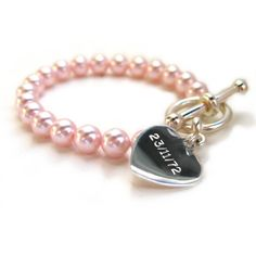 Aye Do Ltd - Pearl Personalised Pink Bracelet*(yd), £21.99 (http://www.ayedoweddings.co.uk/pearl-personalised-pink-bracelet-yd/)