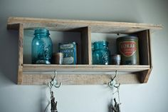 Reclaimed Barnwood Shelf with Antique Hooks by debstudio22 on Etsy, $59.00