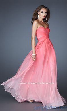 Long Strapless Ombre Gown by La Femme 17004..lighter color pink? Pretty dress