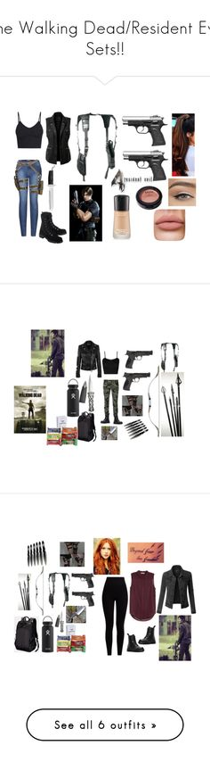 """The Walking Dead/Resident Evil Sets!!"" by hayley11123 ❤ liked on Polyvore featuring 2LUV, LE3NO, Stuart Weitzman, NYX, MAC Cosmetics, Victorinox Swiss Army, Nili Lotan, Dr. Martens, WearAll and Smith & Wesson"