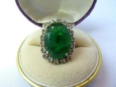CHRISTIAN DIOR Vintage 1960's Costume Cocktail Ring Faux Emerald Jewellery by LadyMoore ��