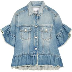 MSGM Distressed ruffle-trimmed denim jacket (€235) ❤ liked on Polyvore featuring outerwear, jackets, tops, blusas, light blue, distressed jacket, light blue jacket, short sleeve denim jacket, blue jackets and ruffled denim jacket