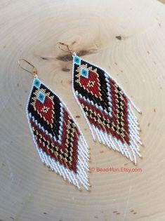 Seed Beaded Long Earrings Fringe Earrings Name: Heart Throb Shoulder Dusters Bohemian Style Western Wear Wearable Art by on Etsy Brick Stitch Earrings, Seed Bead Earrings, Fringe Earrings, Diy Earrings, Seed Beads, Crochet Earrings, Hoop Earrings, Aztec Earrings, Silver Earrings