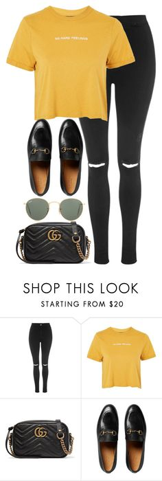 """Untitled #3321"" by elenaday ❤ liked on Polyvore featuring Topshop, Gucci and Ray-Ban"