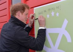 Prince Harry visits the University of Canterbury. He met with the Student Volunteer Army, did some gardening, spray-painted and gave out cupcakes to a very impressive crowd of students, who waited hours for him in pouring rain and hail.