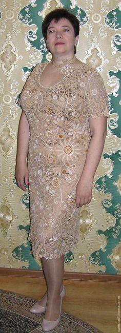 """Купить Авторское платье """"Карина"""" бежевое. Ирландское кружево - бежевый…"""