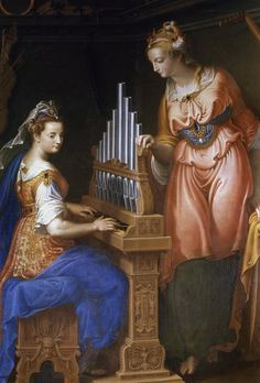 ♪ The Musical Arts ♪ music musician paintings - Jacques Stella | Sainte Сecile playing the organ, c. 1600