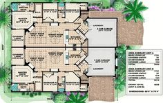 Mediterranean Multi-Family House Plan - Floor Master Suite Butler Walk-in Pantry CAD Available PDF Architectural Designs Beach House Floor Plans, Duplex Floor Plans, Dream House Plans, Family House Plans, Small House Plans, Family Houses, Small Houses, Foyers, Duplex Design