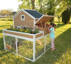 This chicken coop is one of our favorites, it creates an opportunity for you to grow a garden and raise chickens together in one place!
