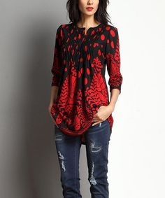 Look at this #zulilyfind! Black & Red Polka Dot Floral Notch Neck Pin Tuck Tunic #zulilyfinds