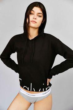 Calvin Klein For UO Cropped Hoodie Sweatshirt