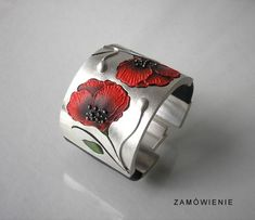 Jolanta Bromke sterling silver,painted leather,thread,beads Bracelet with poppies  Bracelet with poppies
