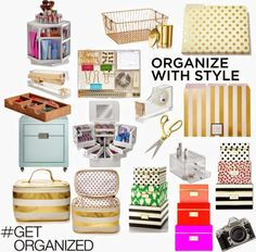 Organize with Style: by SWEET HAUTE Favorites in gold neutral office and home ideas, storage organizing solutions. Pin now....read later!
