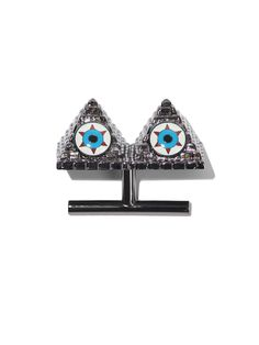 AMBUSH® EYE AM NOT ALONE RING (PEWTER)        Pewter colored pyramid double ring. Enamel eye design on face. Size small equivalent to size six, medium to size seven and large to size eight.