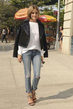 Olivia Palermo.. Marchesa jacket, Paige jeans, Aquazzura + Olivia Palermo Sandals, and Bulgari Serpenti Bag..
