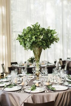 15 Wedding Tablescapes That Prove It S Time To Ditch Flowers 15 Wedding Tablescapes That Prove It S Time To Ditch Flowers And The Greenery Trend Continues 15 Best Greenery Wedding Centerpieces Green Centerpieces For Wedding Green Wedding Centerpieces, Greenery Centerpiece, Wedding Flower Arrangements, Flower Centerpieces, Wedding Flowers, Centerpiece Ideas, Centrepieces, Cheap Table Decorations, Crafts